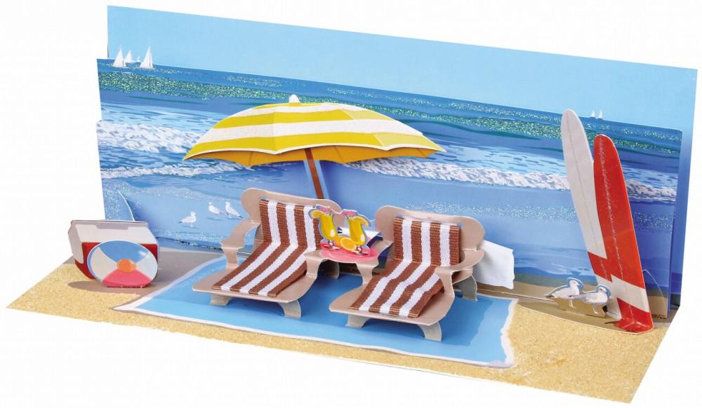pop up geburtstag karte 3d badeurlaub panorama 10x23 cm. Black Bedroom Furniture Sets. Home Design Ideas