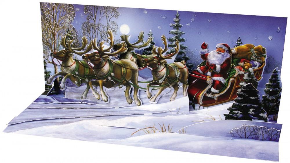 pop up 3d weihnachten panorama karte popshot kinder 4 rentiere mit kutsche 23x10 cm. Black Bedroom Furniture Sets. Home Design Ideas